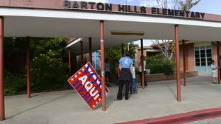 A wind-blown sign directs voters to Barton Hills Elementary Precinct 342 on November 5, 2013.