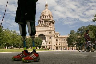 Gutierrez, who is awaiting a hearing on his request for asylum in the U.S., stands in front of the Texas Capitol after his 12-day ride across the state. The focus of his journey was to raise awareness about the impunity for violent criminals in Mexico and to support his fellow asylum-seekers. What it isn't, he said, is a protest of the U.S. government.