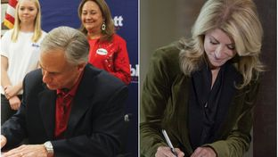 At separate events, Republican Texas Attorney General Greg Abbott and state Sen. Wendy Davis, D-Fort Worth, filed for governor in Austin, Texas on Saturday, Nov. 9, 2013.
