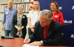 Attorney General and gubernatorial candidate Greg Abbott files to run for  governor on Saturday, Nov. 9, 2013 in Austin, Texas.
