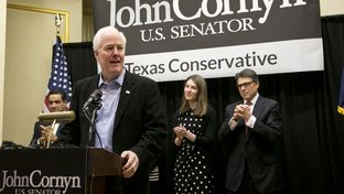 Sen. John Cornyn and Gov. Rick Perry during Cornyn's reelection campaign kickoff in Austin, Texas on November 15th, 2013
