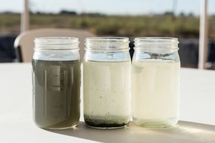 Fracking water during different stages of the purification and recycling process at the Fasken Oil and Ranch site in West Texas.