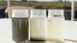 Fracking water during different stages of a purification and recycling process.
