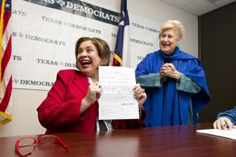 Sen Leticia Van de Putte after signing official papers for Lt. Governor with her mother Belle Ortiz at Texas Democratic Party HQ on November 26, 2013.