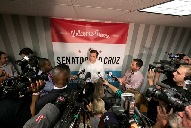 U.S. Sen. Ted Cruz, R-Texas, is greeted by hundreds of supporters in Houston on Oct. 21, 2013, at a homecoming event hosted by a local Tea Party organization.