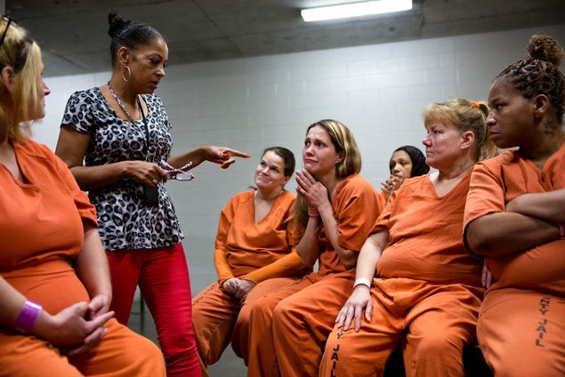 "Former prostitute and crack addict Kathryn Griffin leads the ""We've Been There, Done That"" prostitute rehabilitation program at the Harris County Jail."