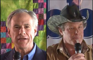 Republican candidate for governor Greg Abbott and rock musician Ted Nugent at a get-out-the-vote rally in Denton, Texas on Feb. 18. 2014.