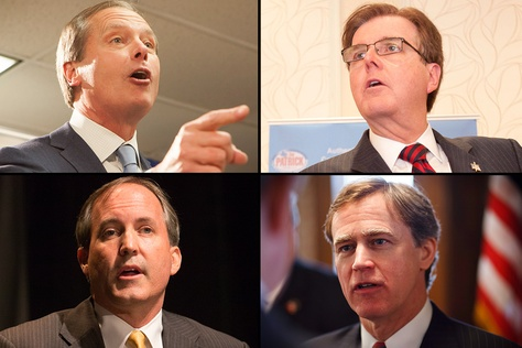 Pictured are (clockwise, from top left) Lt. Gov. David Dewhurst, state Sen. Dan Patrick, state Rep. Dan Branch and state Sen. Ken Paxton.