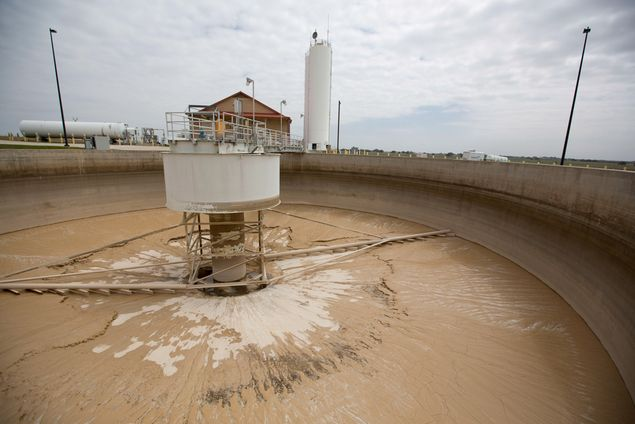 A sludge thickener on the site of the Twin Oaks Valley Water Treatment Plant outside of San Antonio, where the San Antonio Water System maintains an underground storage reservoir.