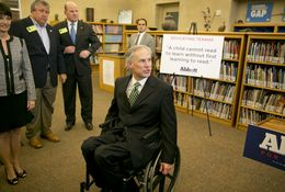 Attorney General and gubernatorial candidate Greg Abbott after speaking to the media promoting his Pre-K-3rd grade education proposals on April 2nd, 2014 at IDEA Carver Academy in San Antonio, Texas