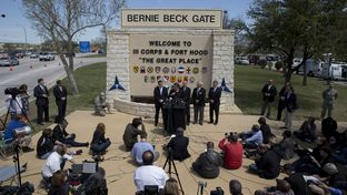 Gov. Rick Perry and other officials brief the media at Fort Hood on April 4, 2014.