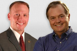 Candidates for Texas Railroad Commissioner, Ryan Sitton, left, and Wayne Christian.