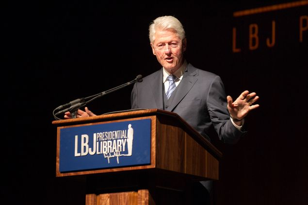 Former President Bill Clinton addresses the audience during the Civil Rights Summit at the LBJ Presidential Library on the University of Texas campus in Austin on April 9, 2014. 