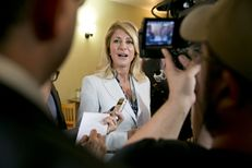 Democratic gubernatorial candidate Wendy Davis, speaks to media during a campaign stop at East Austin restaurant Juan in a Million on May 6th, 2014