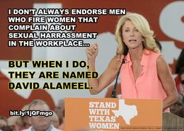 U.S. Sen. John Cornyn ad critical of gubernatorial candidate Wendy Davis's endorsement of fellow Democrat and senatorial candidate David Alameel.