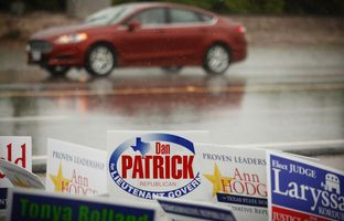 Repubican State Rep. Dan Patrick  stops at a polling station in Cypress, Texas Tuesday, May 27, 2014 to stump for votes in his runoff for the Republican spot for Lt Gov. against Lt Gov David Dewhurst.