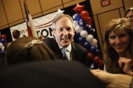 State senator Ken Paxton with supporters as he announces his win as the republican primary nominee for Attorney General on Tuesday, May 27, 2014.