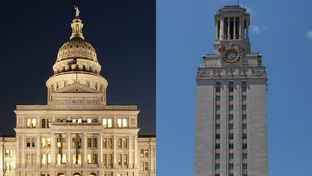 The Texas Capitol on the left, and the University of Texas tower on the right.