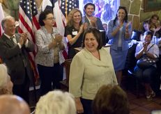 Democratic candidate for Lt. Governor of Texas, Sen. Leticia Van de Putte, D-San Antonio, speaks during a campaign swing in Austin on June 4.