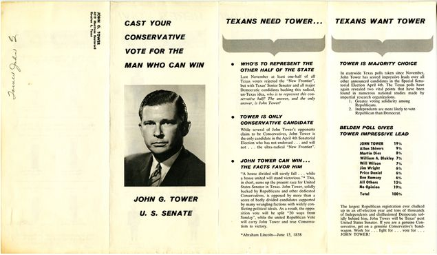 "The front of a Tower campaign brochure in which he frames himself as ""the man who can win."""