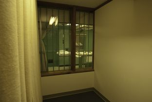 Execution chamber shot from one of two witness viewing rooms at the Huntsville Unit in Huntsville Texas.