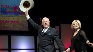 Candidate for Agriculture Commissioner Sid Miller and wife Debra at the Texas Republican Convention on June 7, 2014.
