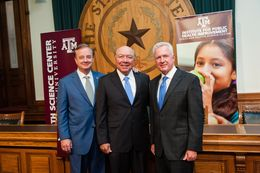"From left: Texas A&M University System Chancellor John Sharp, state Sen. Juan ""Chuy"" Hinojosa, D-McAllen, and Brett Giroir, CEO of Texas A&M Health Science Center, discussed the newly created Texas A&M Institute for Public Health Improvement and the launch of its Healthy Texas Initiative on June 17, 2014."