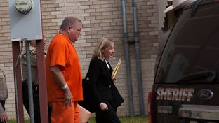 "Bernhardt ""Bernie"" Tiede exits the Panola County Court building with his attorney Jodi Cole after his hearing on Feb. 5, 2014 in Carthage. A state district judge agreed to release Tiede in May, 17 years into his life sentence."