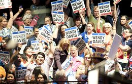 Democratic nominee for governor Wendy Davis in a crowd of supporters at the Democratic state convention on June 27, 2014.