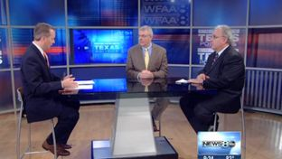 "(L-R) WFAA-TV's Jason Whitely, Texas Tribune Executive Editor Ross Ramsey and Fort Worth Star-Telegram columnist Bud Kennedy on WFAA-TV's ""Inside Texas Politics"" on June 29, 2014."
