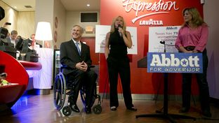 Attorney General Greg Abbott, the GOP nominee for governor, spoke at the Lavazza coffee shop, a few blocks away from where President Obama spoke later in the day on July 10, 2014.