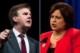 Democratic state Sen. Leticia Van de Putte and Republican state Sen. Dan Patrick, who are facing off in a fiery race to become the state's next lieutenant governor, address delegates at their respective party's state conventions in June.