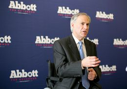 Texas Attorney General and Republican gubernatorial candidate Greg Abbott speaks to supporters at Lavazza Espression on Congress Avenue in Austin.