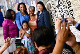 "From left, Mayor Pro Tem Sheryl Cole, Texas State Rep. Dawnna Dukes, Former Austin Independent School district Board of Trustee member Wilhelmina Delco, and Former AISD Superintendent Dr. Meria Carstarphen stand in front of the ""Reflections"" mural at the African American Cultural and Heritage Facility in Austin, Texas.  The mural celebrates African American pioneers in the area of public service. June 9, 2014."