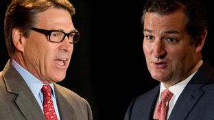 Rick Perry and U.S. Senator Ted Cruz and 2014 RedState Gathering at the Worthington Renaissance Hotel in Fort Worth, Texas on August 8, 2014.