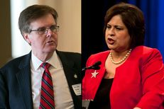 State Sen. Dan Patrick, the Republican candidate for lieutenant governor, speaks at the Texas Business Roundtable candidate forum on Jan. 14th, 2014, and state Sen. Leticia Van de Putte, the Democratic nominee, addresses delegates at the 2014 Texas Democratic Convention on June 27, 2014.