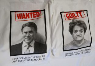Front and back of T-shirts with Gov. Rick Perry and District Attorney Rosemary Lehmberg mugshots, provided by RickPAC at a Manchester, N.H. event on Friday.