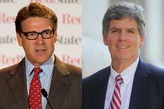 Texas Gov. Rick Perry, left, and Judge Bert Richardson, right.