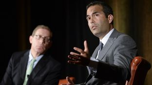 Land Commissioner candidate George P. Bush takes a question from the public at TribFest Sept. 19, 2014.