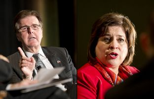Dan Patrick and Leticia Van de Putte, the Republican and Democratic candidates for lieutenant governor, spoke at the Texas Tribune Festival on Saturday, Sept. 20, 2014.