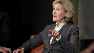 Former U.S. Sen. Kay Bailey Hutchison of Texas makes a point at TribFest Sept. 20, 2014.