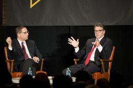 Editor Evan Smith listens as Gov. Rick Perry reminisces about his time as governor during the final keynote of TribFest on Sept. 21, 2014.