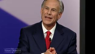Attorney General Greg Abbott in his second and final gubernatorial debate with state Sen. Wendy Davis, D-Fort Worth in Dallas, Texas on Sept. 30, 2014.