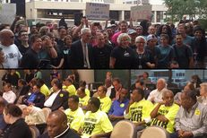 Above: Austin City Councilman Chris Riley joins supporters of legalizing vehicle-for-hire apps Uber and Lyft at a rally Thursday outside of a city council meeting. Below: Supporters of traditional taxi companies sit at the same city council meeting as the council considers an ordinance for vehicle-for-hire apps.