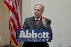 Republican gubernatorial candidate Greg Abbott speaks at a campaign lunch on Oct. 8.