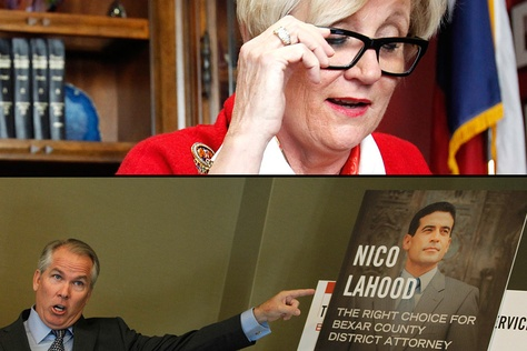 "Personal injury lawyer Thomas J. Henry of Corpus Christi, (bottom) is backing Democrat Nicholas ""Nico"" LaHood in the Bexar County district attorney's race against 16-year Republican incumbent Susan Reed (top).."