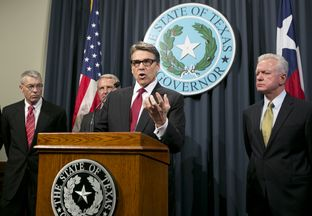 Gov. Rick Perry gives update on the states prevention efforts against Ebola during a press conference at Texas State Capitol on October 17th, 2014