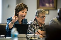 State Board of Education Chair Barbara Cargill questions textbook publishers on the contents of their publications at a meeting in Austin on Monday, October 20, 2014.