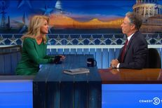"Democratic nominee for governor Wendy Davis appeared on ""The Daily Show With Jon Stewart"" on Monday, Oct. 27, 2014 in Austin, Texas."