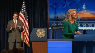 "Republican Gov. Rick Perry and Democratic nominee for governor Wendy Davis made separate appearances before national audiences on Monday, Oct. 27, 2014, Perry at the Ronald Reagan Presidential Foundation, Davis on ""The Daily Show with Jon Stewart."""
